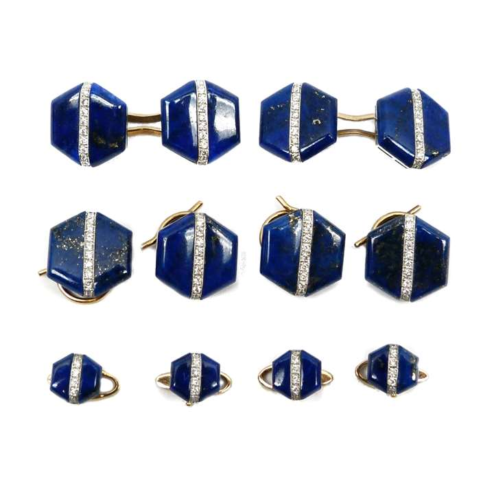 Art Deco lapis lazuli and diamond gentleman's dress set of cufflinks, four buttons and four studs.
