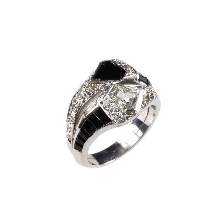 Art Deco onyx and diamond two row crossover cluster ring