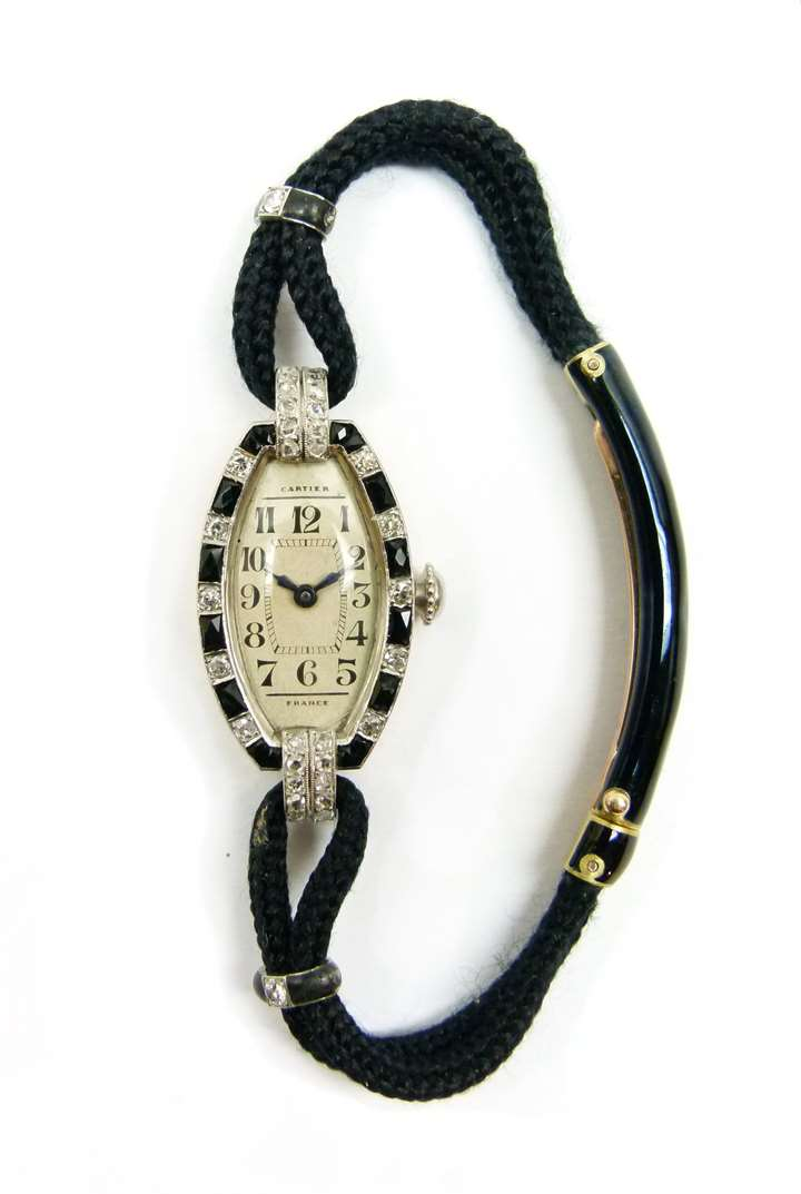 Art Deco onyx and diamond wristwatch