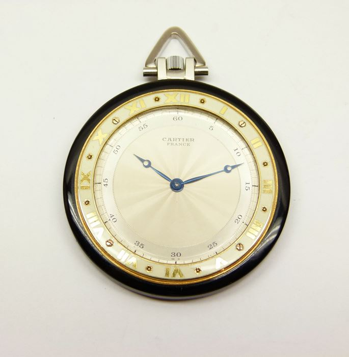Cartier - Art Deco onyx and gold pocket watch by Cartier | MasterArt