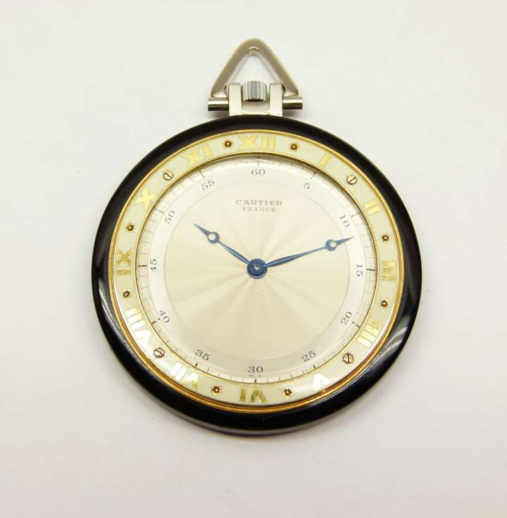 Art Deco onyx and gold pocket watch by Cartier