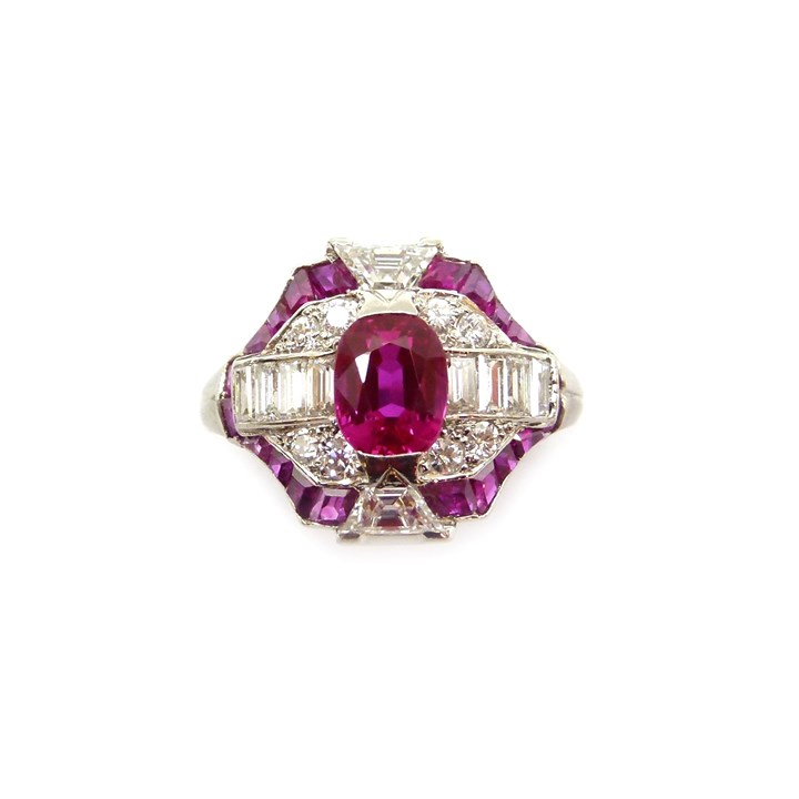 Art Deco ruby and diamond geometric cluster ring