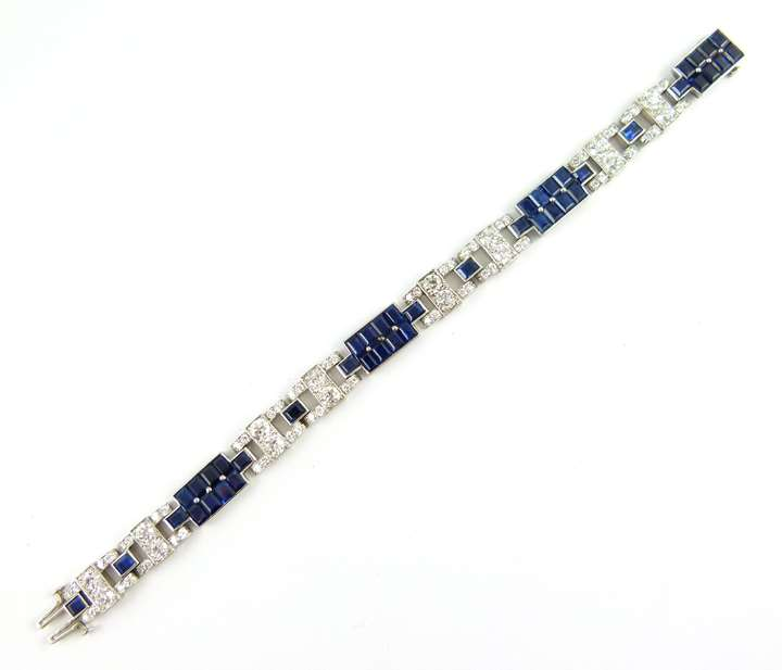 Art Deco sapphire and diamond geometric bracelet