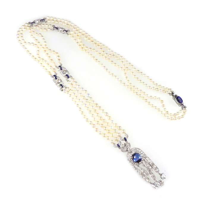 Art Deco sapphire, diamond and pearl pendant sautoir necklace