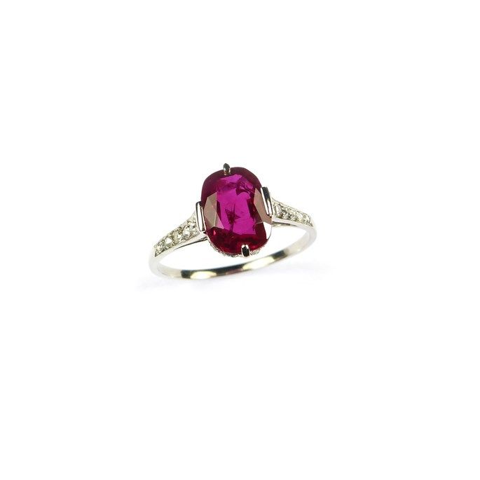 Art Deco single stone Burma ruby and diamond ring, set with a cushion cut 2.35ct ruby | MasterArt