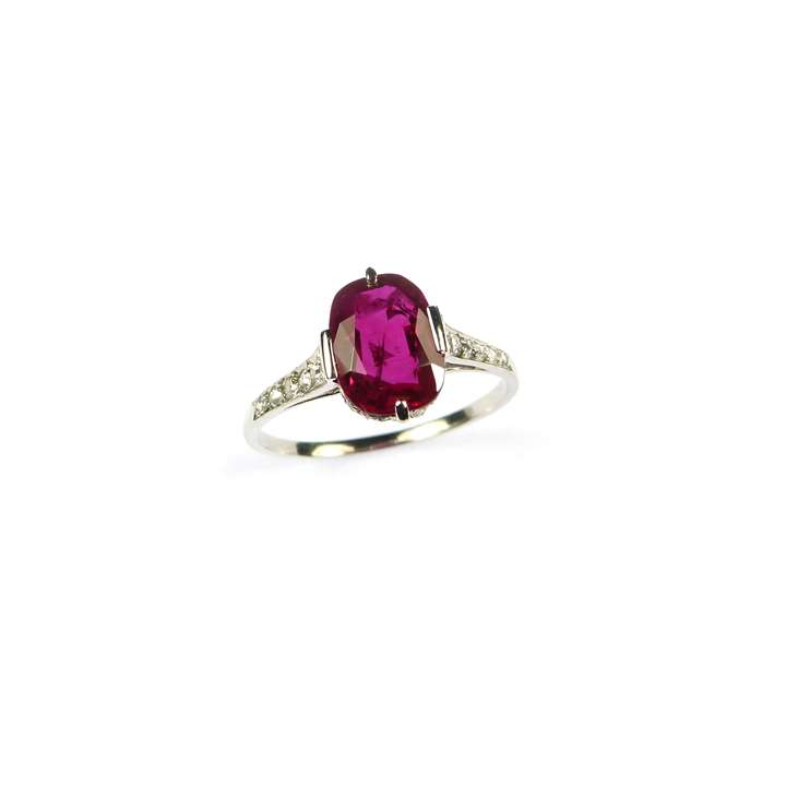 Art Deco single stone Burma ruby and diamond ring, set with a cushion cut 2.35ct ruby