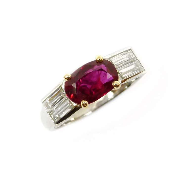 Art Deco single stone Burma ruby and diamond ring, the cushion cut ruby, 1.51ct