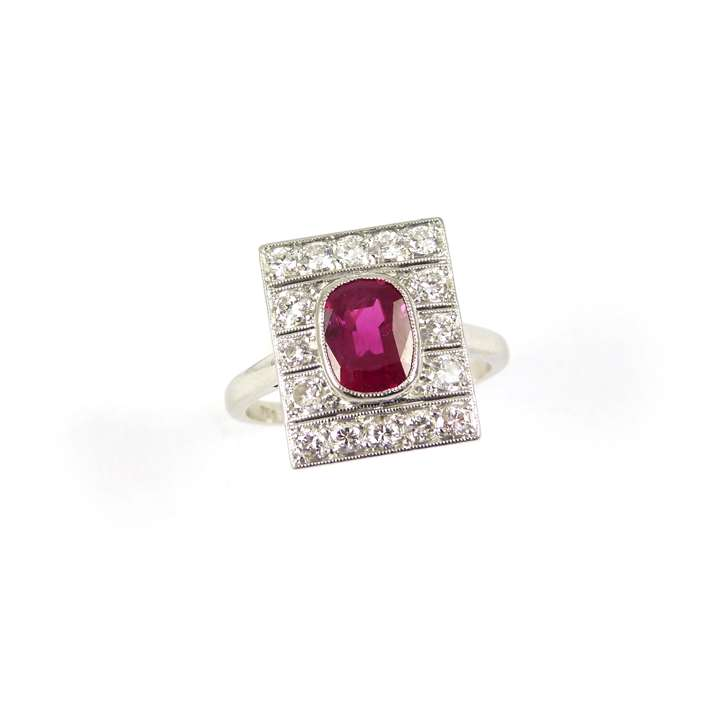 Art Deco single stone ruby and diamond panel ring