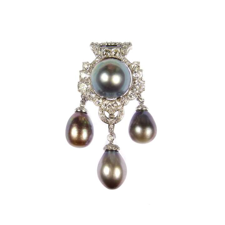Art Deco triple drop grey pearl and diamond clip brooch