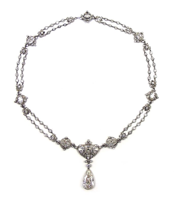 Art Nouveau pear shaped diamond set necklace,  hung with a 7.15ct H IF Type IIa pear shaped diamond drop to the front | MasterArt