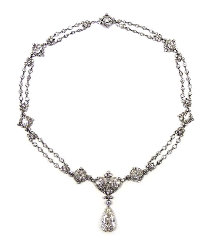 Art Nouveau pear shaped diamond set necklace,  hung with a 7.15ct H IF Type IIa pear shaped diamond drop to the front