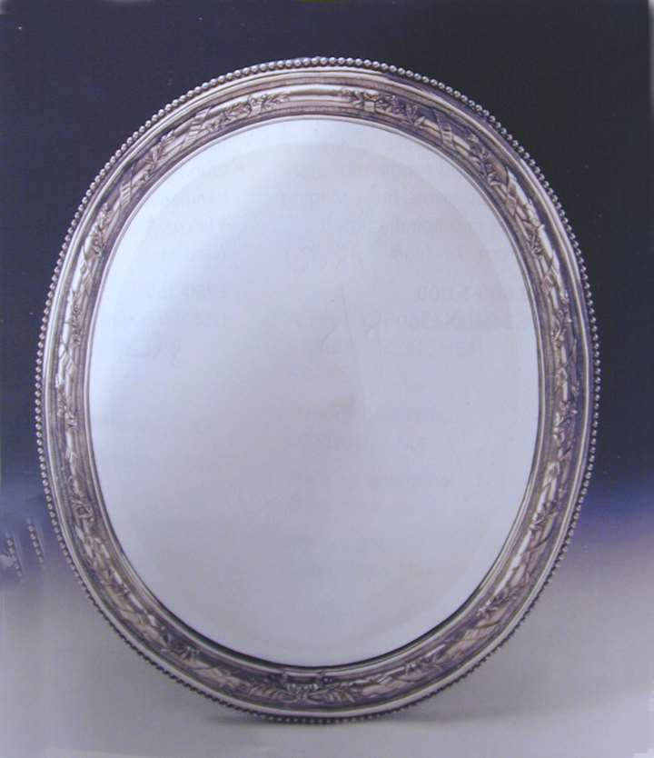 Belgian silver oval frame with mirror