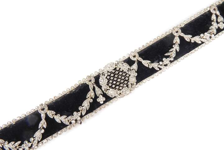 Belle epoque diamond garland swag and black velvet choker necklace by Cartier