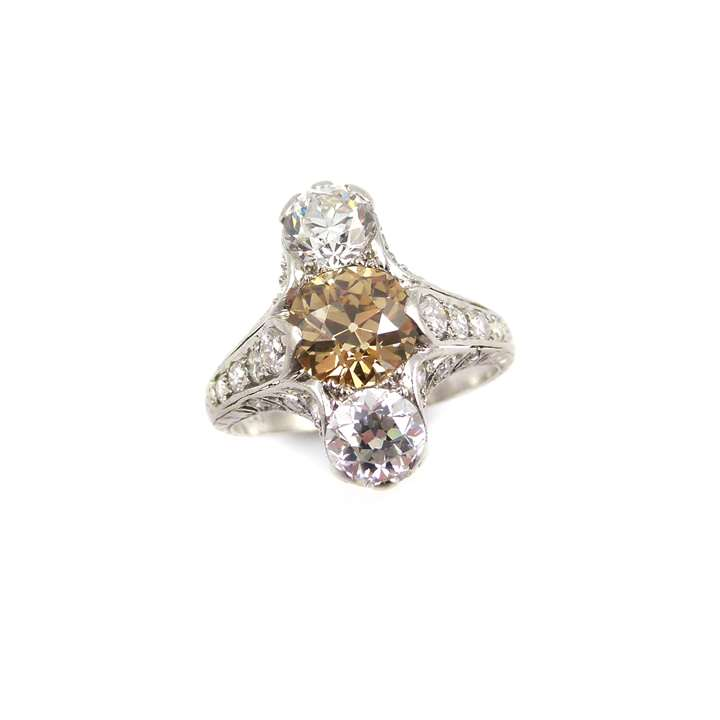 Belle epoque three stone, coloured and white diamond ring