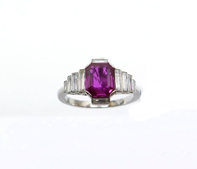 Burma ruby and baguette diamond ring | MasterArt