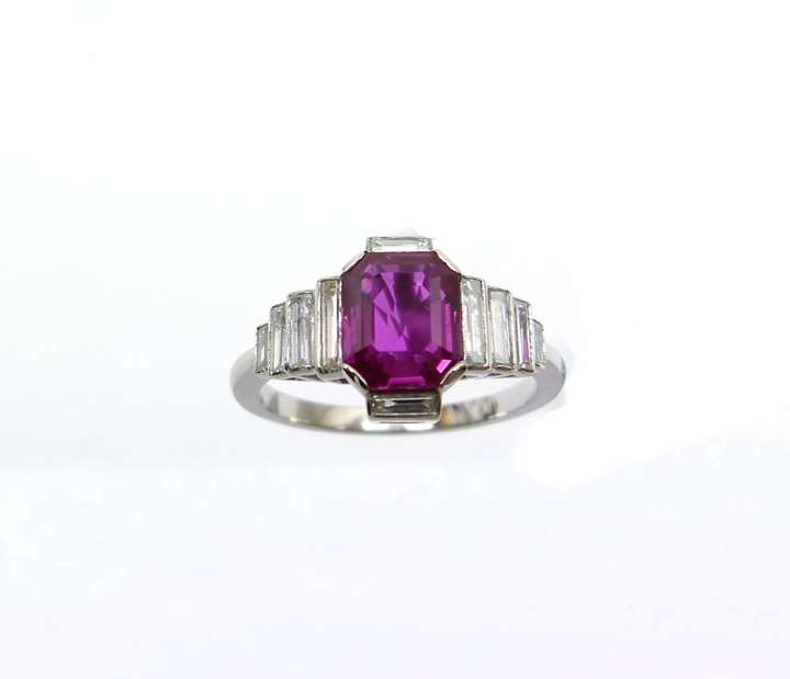 Burma ruby and baguette diamond ring