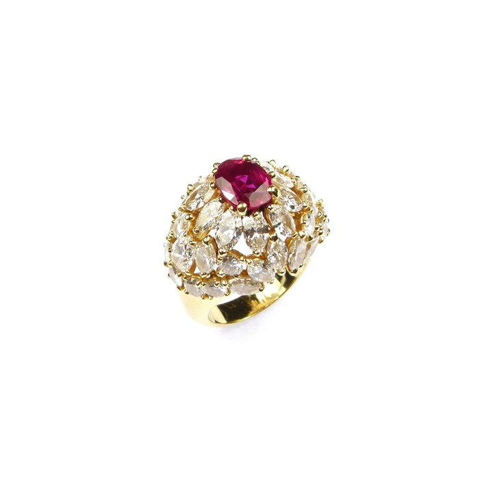 Burma ruby and diamond bombe cluster ring