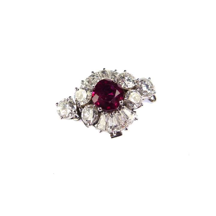 Burma ruby and diamond cluster clasp  with fittings for a single row