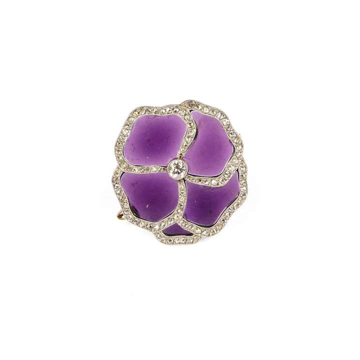 Early 20th century diamond and purple glass pansy flower brooch