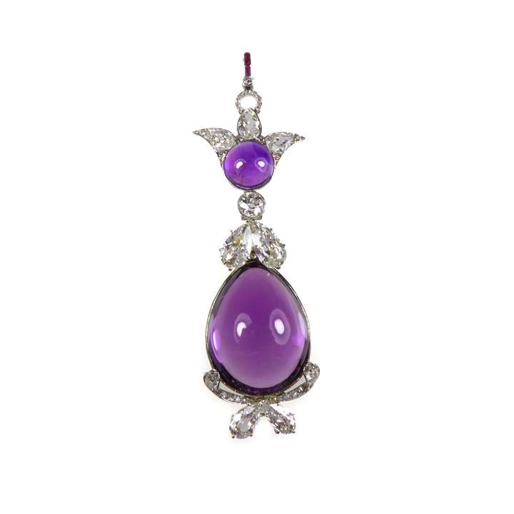 Cabochon amthyst and diamond pendant, hung with a principal drop shaped amethyst