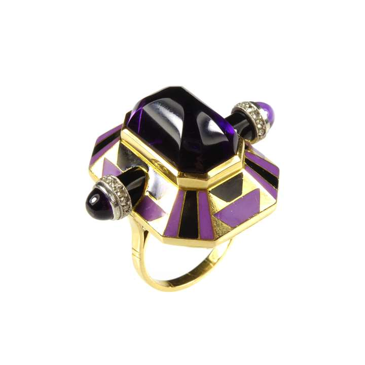 Cabochon amethyst, enamel, diamond and gold ring