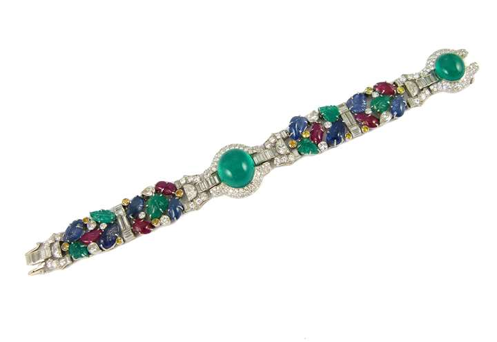Cabochon emerald, ruby, sapphire and diamond tutti-frutti bracelet