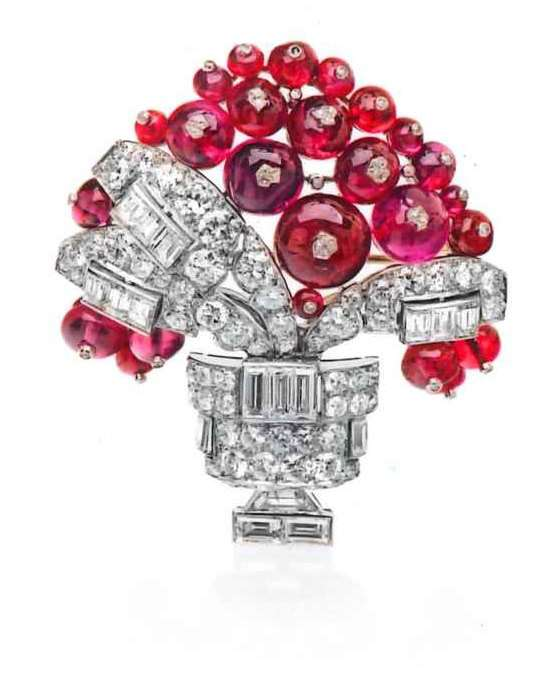 Cabochon ruby, diamond and baguette diamond vase of flowers brooch