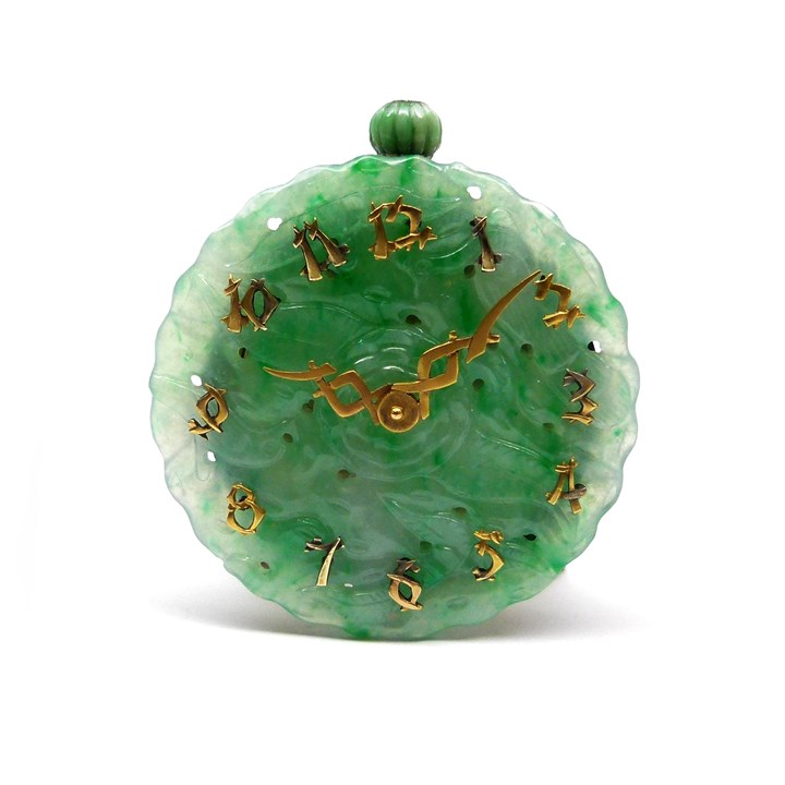Carved and pierced jadeite round panel clock
