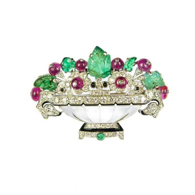 Cartier - Carved emerald, ruby, diamond and rock crystal flower basket brooch by Cartier | MasterArt