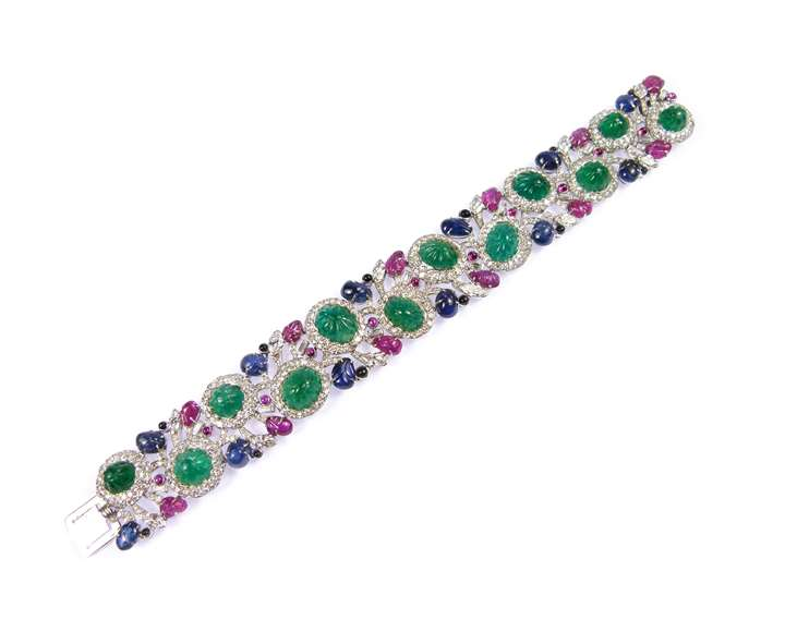 Carved emerald, ruby, sapphire and diamond tutti-frutti strap bracelet