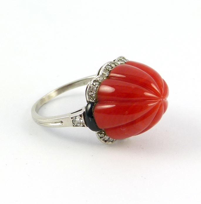 Carved sugarloaf corallium rubrum and diamond ring | MasterArt