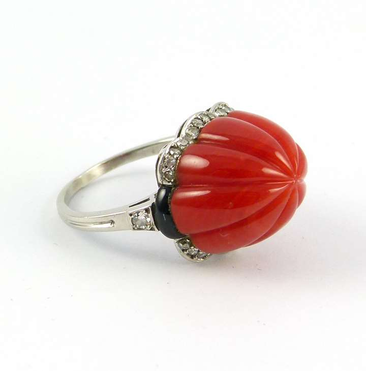 Carved sugarloaf corallium rubrum and diamond ring
