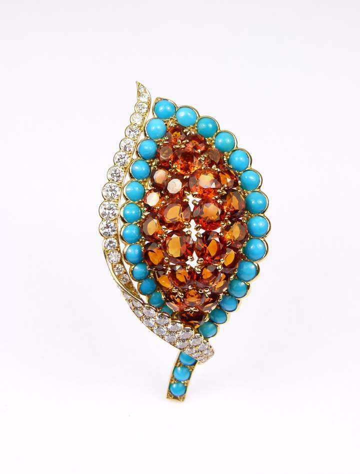 Citrine, turquoise and diamond leaf brooch