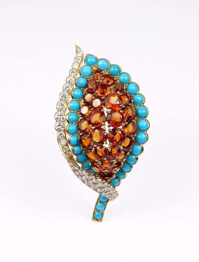 Cartier - Citrine, turquoise and diamond leaf brooch | MasterArt