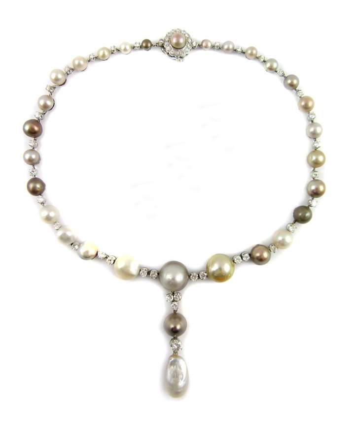 Coloured pearl and diamond necklace
