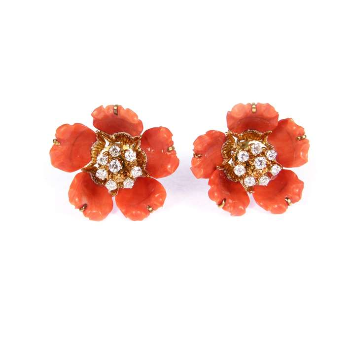 Corallium rubrum and diamond articulated flowerhead cluster earrings, each with five carved corallium rubrum jointed petals,