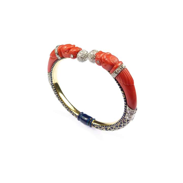 Corallium rubrum, diamond, enamel and gold dragon's head bangle