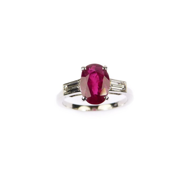 Cushion cut Burma ruby and diamond ring, claw set with a 2.17ct stone