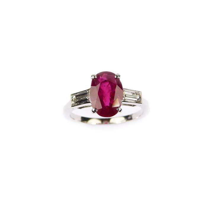 Cushion cut Burma ruby and diamond ring