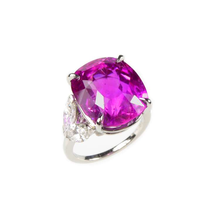 Cushion cut pink sapphire and diamond ring by Van Cleef & Arpels
