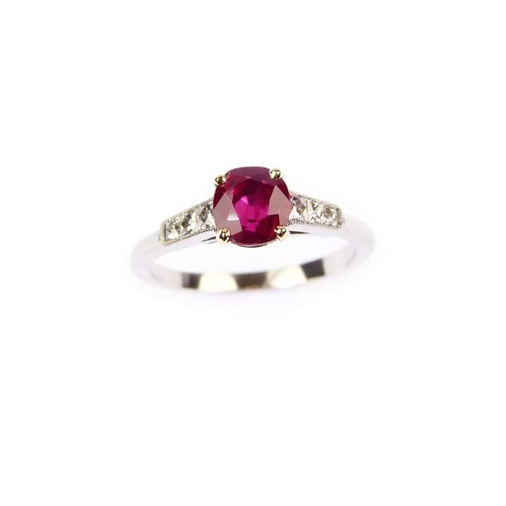 Cushion cut ruby ring, claw set with a 1.310ct Burma stone