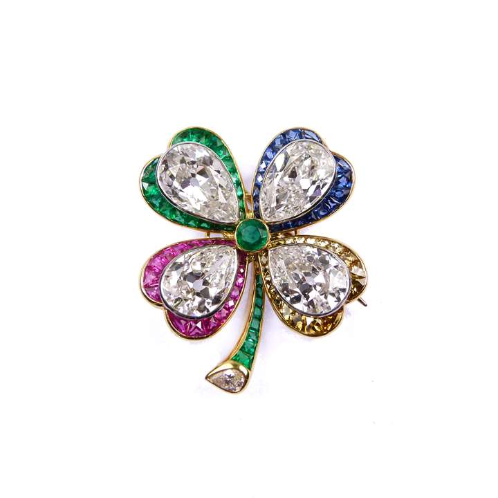Diamond and coloured gem set four leaf clover brooch,