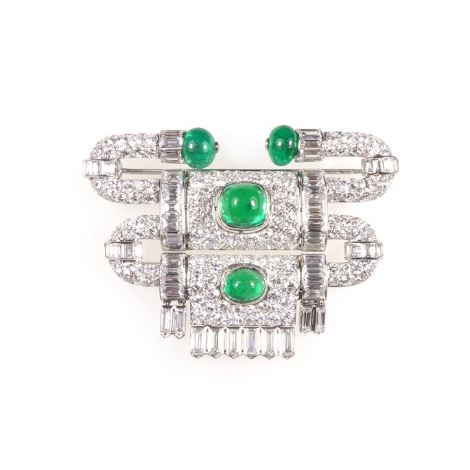 Diamond and emerald stepped 'heurtoir' brooch by Van Cleef & Arpels | MasterArt