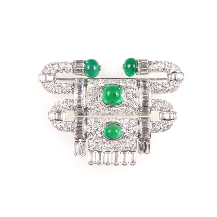 Diamond and emerald stepped 'heurtoir' brooch by Van Cleef & Arpels
