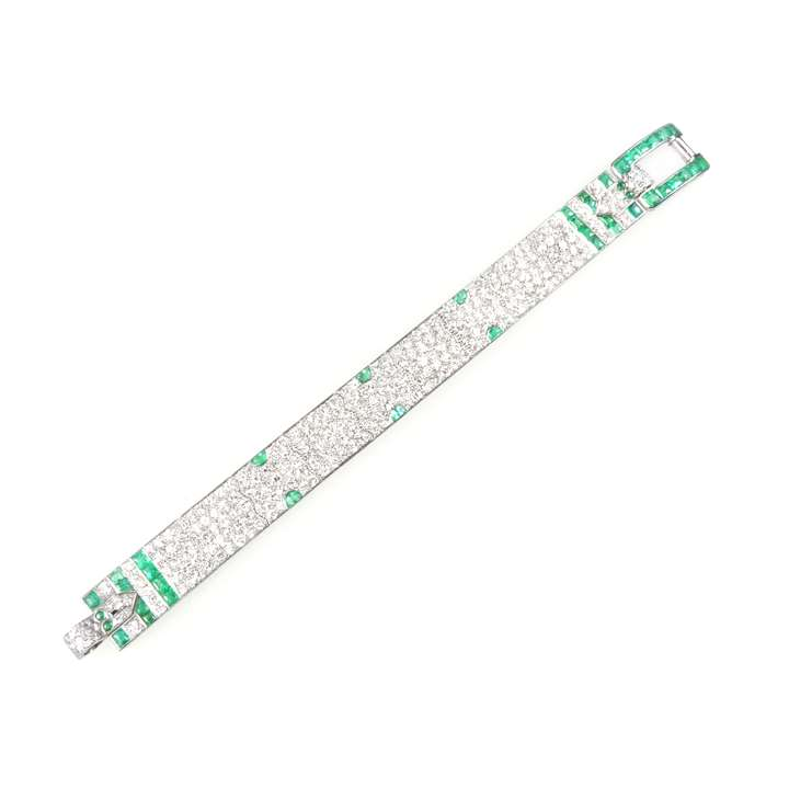 Diamond and emerald strap bracelet by Charlton