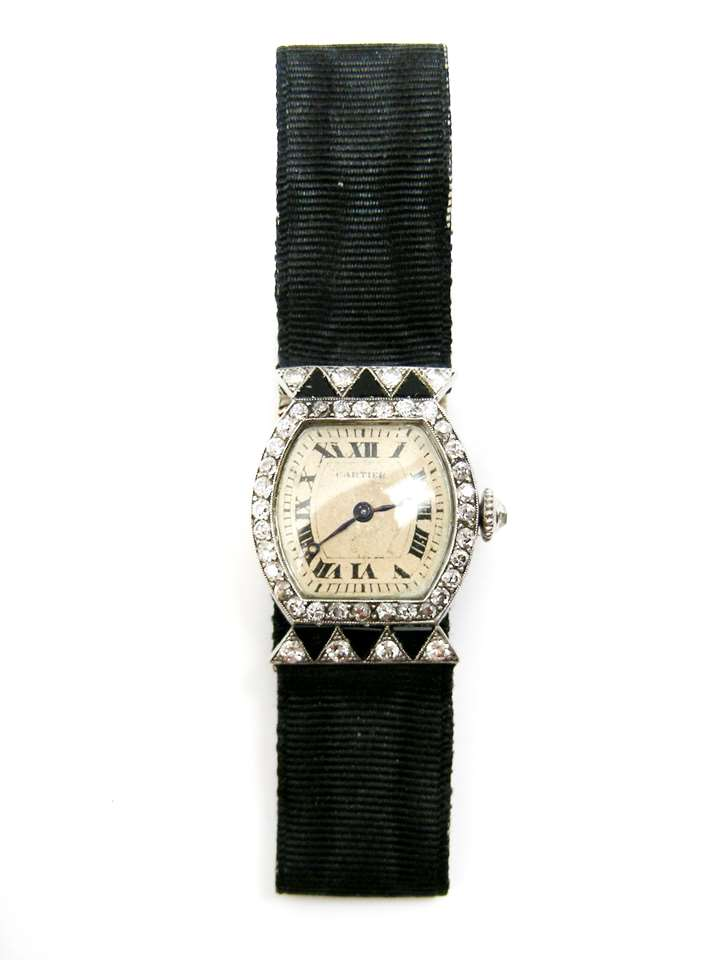 Diamond and onyx dress watch