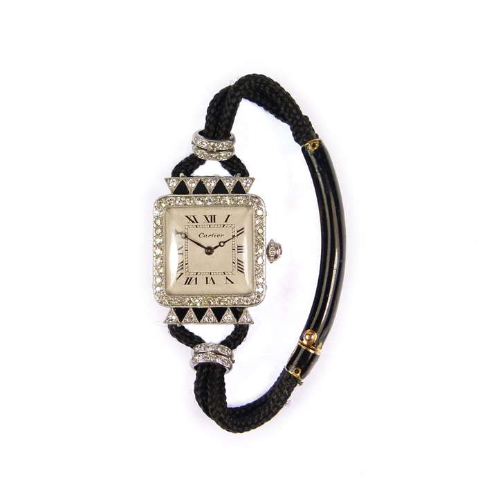 Diamond and onyx lady's wristwatch