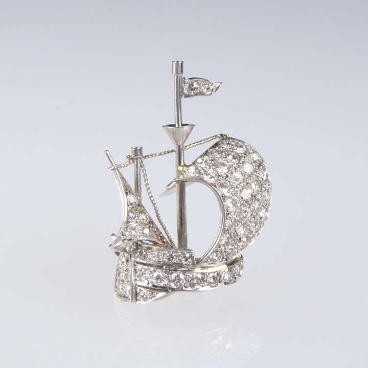 Diamond and platinum sailing ship brooch