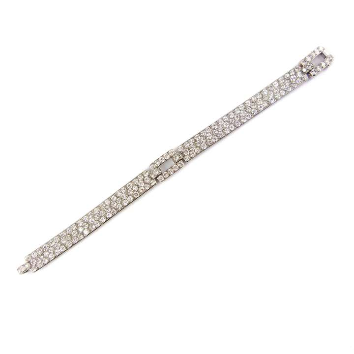 Diamond and platinum strap bracelet