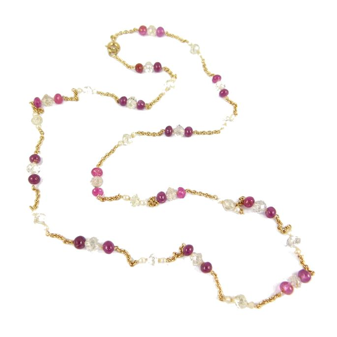 Diamond and ruby bead and pearl gold chain necklace, | MasterArt